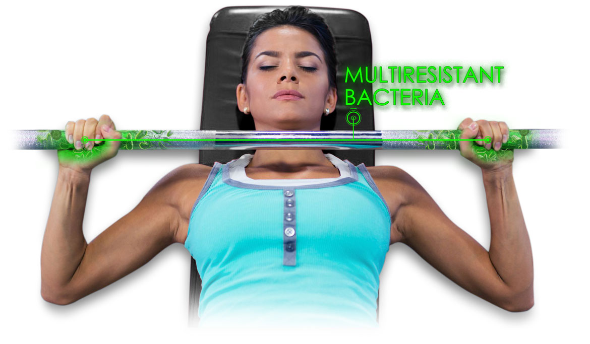 women touching bench press bar infested of bacteria