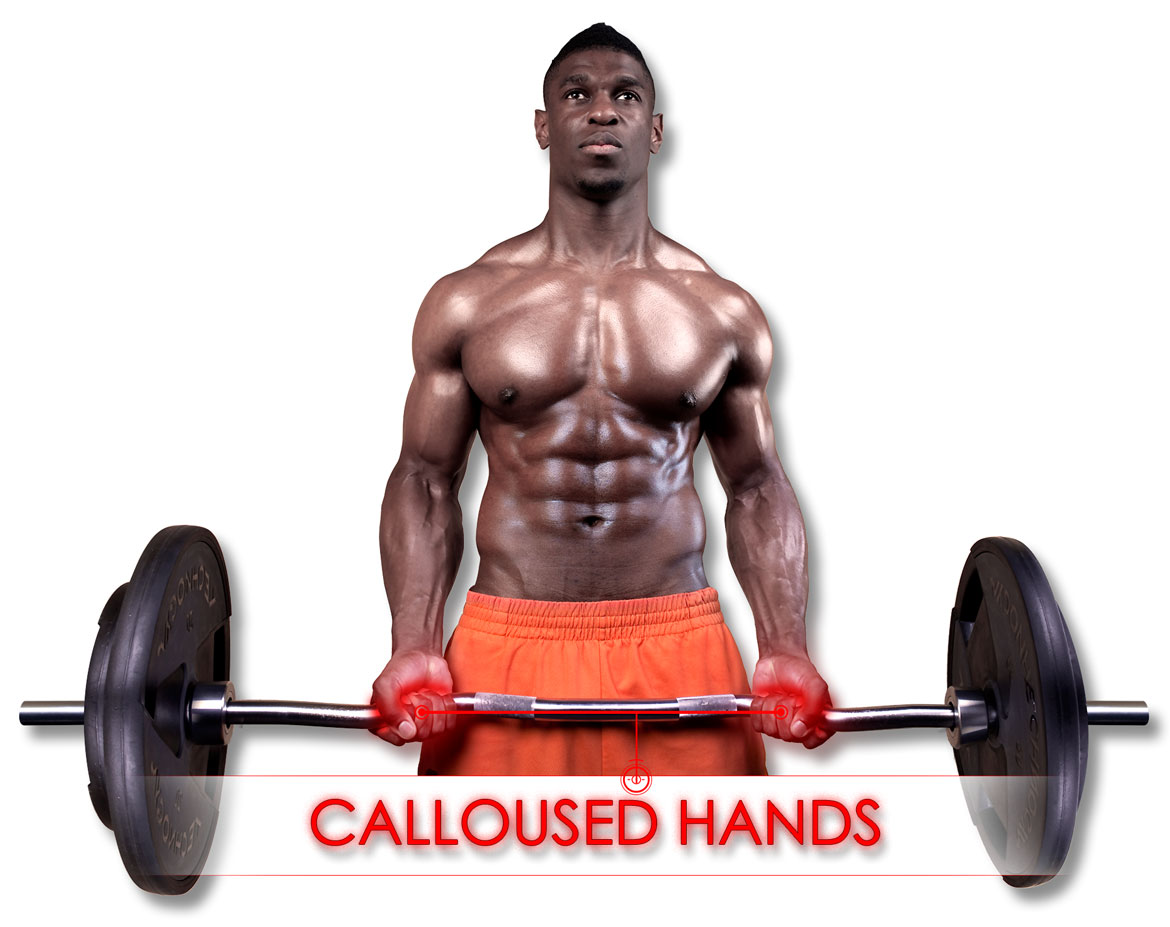 man performing biceps curl with calloused hands