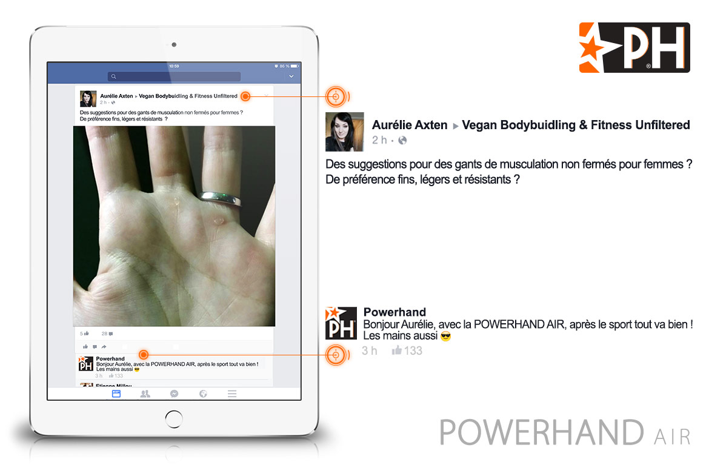 photo d'un ipad avec une main calleuse sur facebook