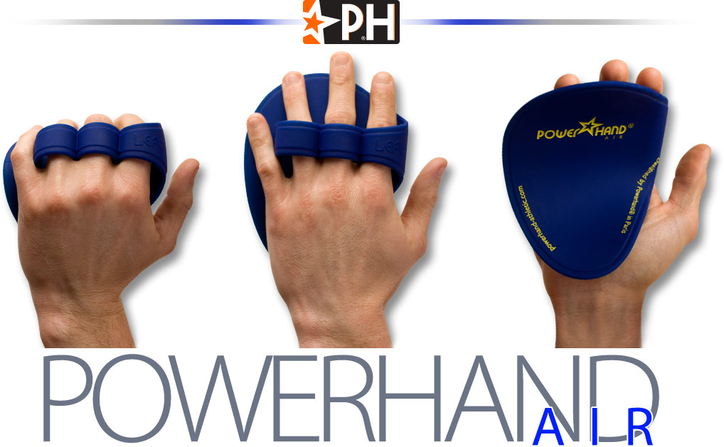 4 men hands equipped with the powerhand air gloves